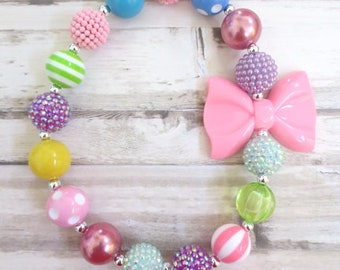 Baby Girl Necklace, Girl Necklace, Children Necklace, Girl Chunky Necklace, Baby Bead Necklace, Girl Bubblegum Necklace, Toddler Necklace