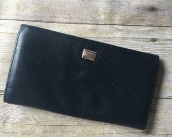 Vintage Billfold Leather Wallet - Black Leather