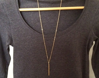 Long gold bar necklace, long pendant necklace, long gold necklace, gold bar pendant, 30 inch necklace, gold jewellery, jewelry