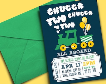 Chugga Chugga, Two Two! Birthday Invitation • Printable - Digital