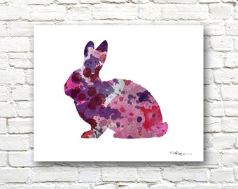 Rabbit Art Print - Abstract Watercolor Painting - Wall Decor