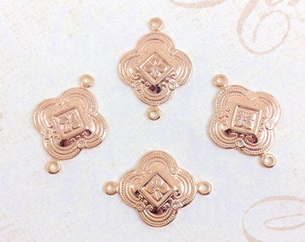 Rose Gold Connector, Brass Connector, Art Deco Link, Brass Stamping, 15mm x 23mm - 4 pcs. (rg199)