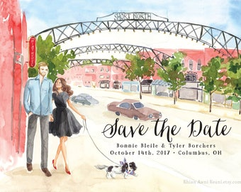Save the Date Portrait Design - Watercolor Illustration Art Wedding, Bride Groom, Engagement, Wedding Invite, Engagement  Painting Drawing