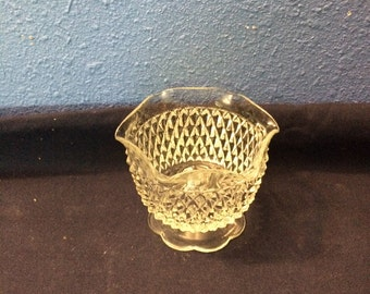 Vintage Indiana Glass Diamond Point Candle Holder with Ruffled Edge