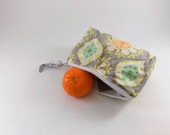 Grey Medallion Print Zip Bag, Cosmetic Bag, Travel Bag, Zippered Makeup Bag, Snack Bag, Pencil Bag, Fabric Zip Bag