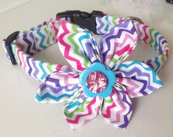 Pink & Purple Chevron  Collar with Flower for Female Dogs and Cats