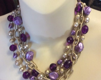 Vintage 1950's 5 strand purple beaded necklace