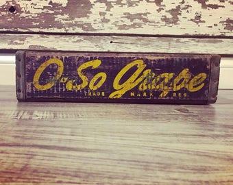 Vintage Very Rare 1947 O So Grape Wood Soda Crate