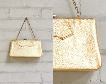 1960s gold lame purse / 60s gold clamshell clutch / 1960s lame box bag / 1960s gold handbag