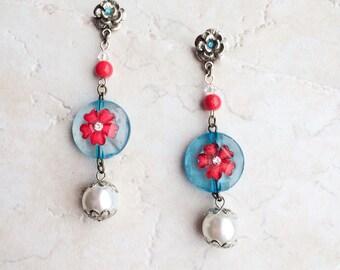 Red Turquoise Pearl Flower Earrings, Funky Pearl Post Earrings