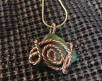 Wire wrapped green jasper necklace