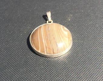 Australian ribbon stone in silver pendant.