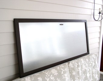 HUGE Conference Room Office Bulletin Board 22 x 52 inch Magnetic Board Organizer Oversized Dry Erase Galvanized Steel Espresso Brown Frame