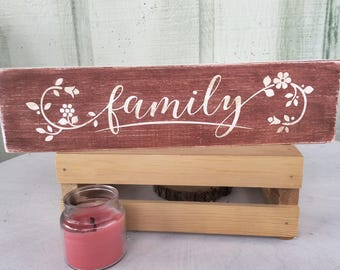 Family red painted distressed wood sign 14x3.5