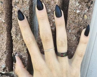 Matte Black Stiletto Nails - Full Set