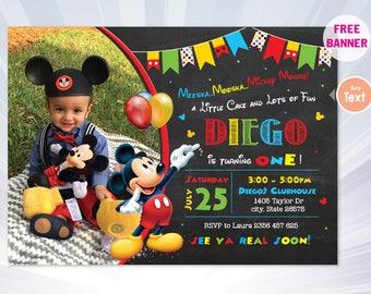 Mickey invitation - mickey birthday invitation - boy birthday party - boy invitation - mickey invitation - personalized