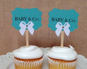12 Baby and Co. Blue Baby Shower Party Cupcake toppers