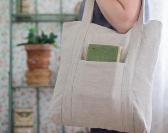 Natural linen market bag, Shopper bag, Grocery bag, Shoulder bag, Bag with pockets, Eco bag, Beach bag, Homemade bag, Vegan