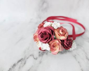Fall wedding flower wrist corsage - burgundy bridal accessories flower girls bridesmaids - flower bracelet