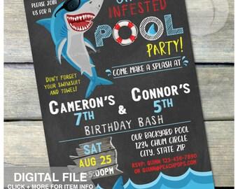 "Shark Pool Party Birthday Chalkboard Invitation - JOINT - Summer Swim Boys or Girls - Twins Combined  - DIGITAL Printable Invite - 5"" x 7"""