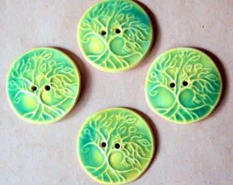 4 Handmade Buttons - Large Tree of Life Buttons in Stoneware - Unique Focal Buttons in Light Green