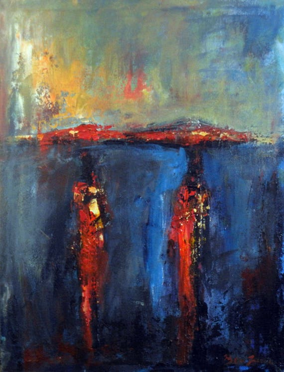 Abstract ART Original Oil Painting on Canvas Colorful Rain Umbrella Art 24x18 by BenWill