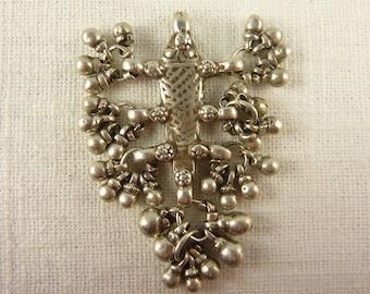 SALE  --- Vintage Sterling Tribal Ball Dangles Pendant