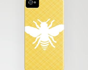 Honeybee on stripy phone Case - spring, honeybee,    iPhone 6S, iPhone 6 Plus, iPhone 8