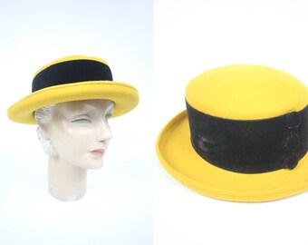 1980's Mustard Yellow Felted Wool Black Velvet Boater Hat