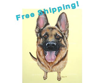 German Shepherd, German Shepherd Art, German Shepherd Painting, German Shepard, German Shepherd Portrait, Pet Portrait, 16x20, Free Shipping
