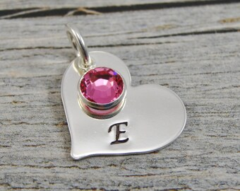 Hand Stamped Jewelry - Personalized Jewelry - Charm For Necklace - Sterling Silver Heart - Initial & Birthstone