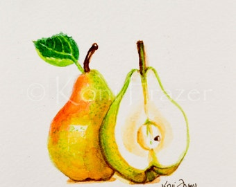 Watercolor pears, kitchen art, original watercolor painting 5x7, ready to frame