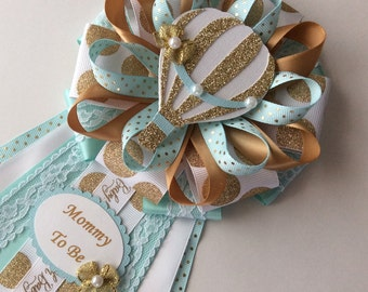 Gold and teal hot air balloon baby shower corsage/Hot air balloon Mommy to be corsage/Neutral hot air balloon baby shower corsage