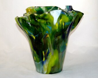 Fused Boiled Glass Green Vase
