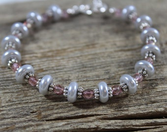 Pink and Light Silver Bracelet / Pink and Grey / Gifts for Her / Bridesmaid Gifts / Gifts for Women / Grey Pearls / Pink Bracelet / Sparkly