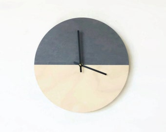 Custom Father's Day Clock, Wall Clocks, Natural Wood and Gray,  Modern Wall Decor