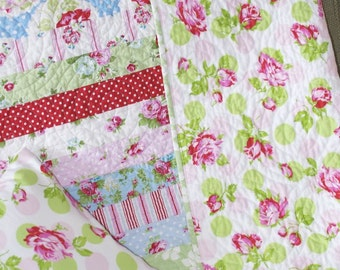 Baby Girl Crib Quilt Blanket Vintage Shabby Decor Inspired Tanya Whelan Delilah Fabric Flannel Backing