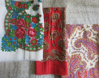 Women scarf is soviet vintage Made in USSR Natural fabric shawl square red white blue Vintage kerchief Gift grandmother girlfriend daughter