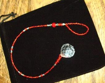 Crystal and Red Bead Pendulum Suncatcher