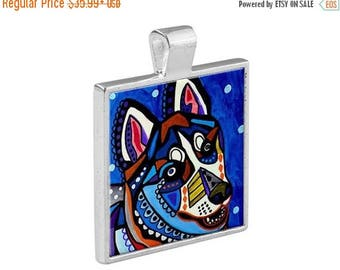50% SALE- Siberian Husky Dog Folk Art Jewelry - Pendant Metal  Gift Art Heather Galler Gift-  Dog Lovers Abstract Modern Vegan Gifts