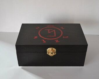 Supernatural Angel Banishing Sigil Symbol Hand Painted Wooden Keepsake Trinket Jewelry Box