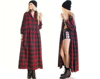 grunge dress red plaid flannel dress scotch plaid maxi dress duster jacket punk rock 90s grunge dress goth womens clothing vintage dress M