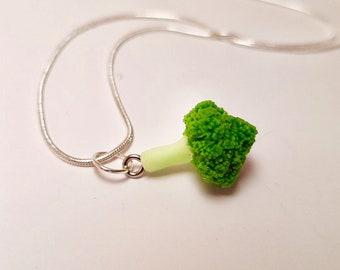 Broccoli necklace - Broccoli pendant - miniature broccoli set on a silver plated chain - vegetable necklace - vegan jewelry - food jewellery