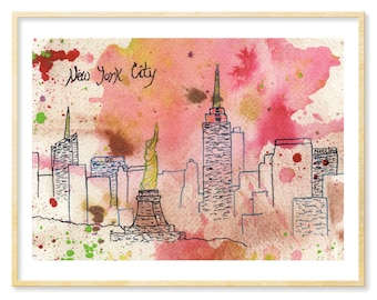 NYC Print, Watercolor Print, NYC Skyline, New York City Art, New York City Souvenir, NYC Tourist, nyc Lover, 8.5x11, Pink, New York Skyline