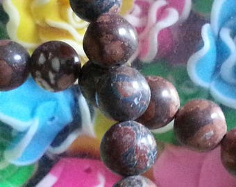 20 8mm diameter, hole 1 Leopard skin Jasper beads mm