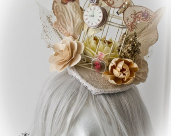 Antoinette rococo cage fascinator-historrical fascinator-fascinator-gothic headpiece
