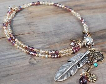 Beaded Boho Choker,  Boho Feather Necklace, Gypsy Necklace, Hippie Necklace, Boho Jewelry, Gypsy Jewelry, Hippie Jewelry, Bead Choker N1418