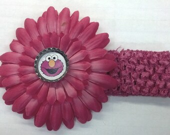 Pink Sesame Street Elmo Bottle Cap Flower Hair Bow & Headband - CHOICE of Design