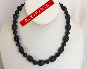 CLEARANCE Mod Black Plastic Bead Necklace, Plastic Beads, Bead Necklace, Mod, Necklace, Vintage, Plastic, Black, Retro, 1960s, Bead