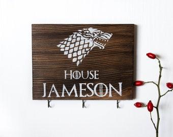Game of thrones gift, game of thrones key holder, personalized gift, custom sign, custom key holder, stark gift, key rack, house stark